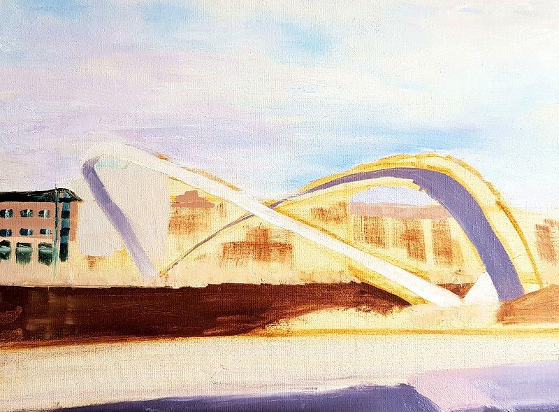 Gateshead Millennium Bridge in oils