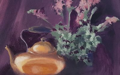 Secondary Colour Oil Study – Orange, Violet And Green